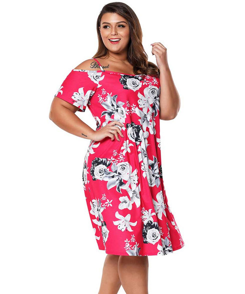 Rose red floral print cold shoulder plus size midi dress 01