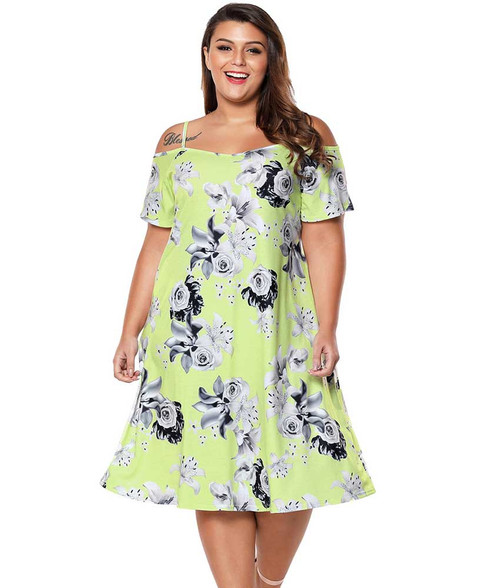 Yellow floral print cold shoulder plus size midi dress 01