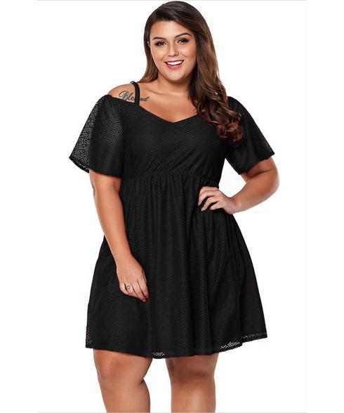 Black textured cold shoulder plus size mini dress 01