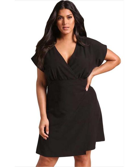 Black V neck pleated high waist plus size mini dress 01