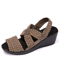 Khaki cross check slip on shoe wedge sandal 01
