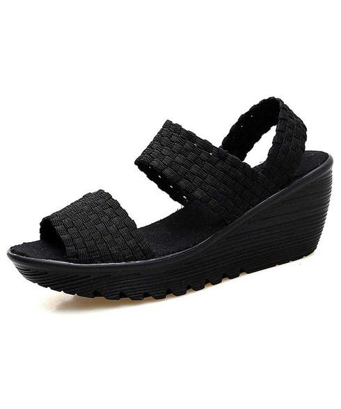 Black weave check slip on shoe wedge sandal 01