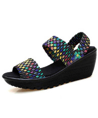 Rainbow weave check slip on shoe wedge sandal 01