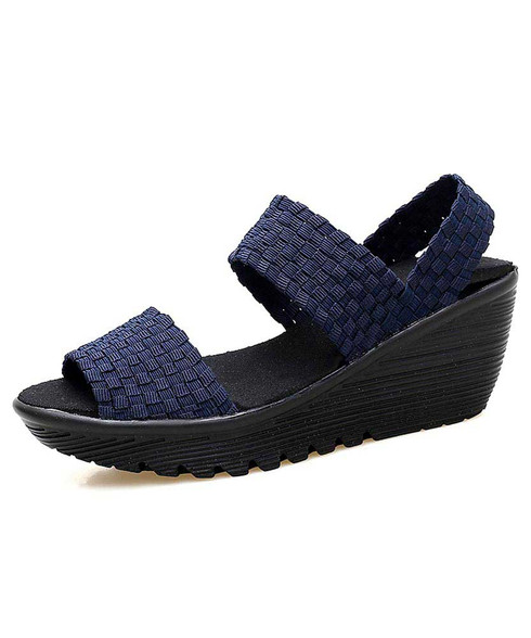 Navy weave check slip on shoe wedge sandal 01