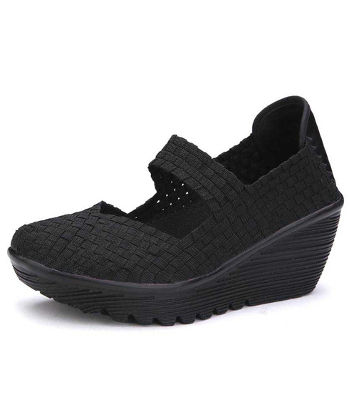 Black weave low cut slip on shoe wedge sandal 01