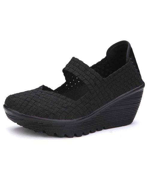 Black weave low cut slip on shoe wedge sandal 01