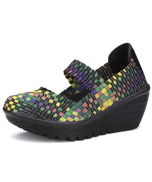Rainbow weave low cut slip on shoe wedge sandal 01