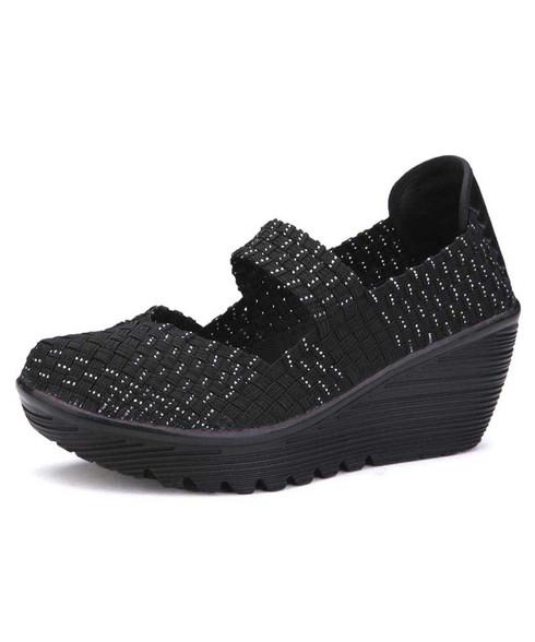 Black silver weave low cut slip on shoe wedge sandal 01