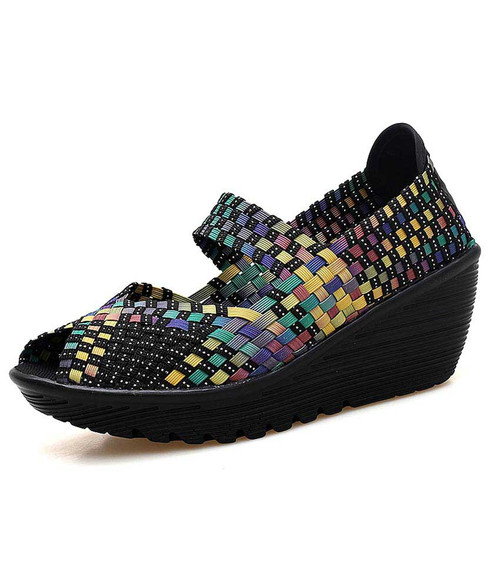 Rainbow weave low cut slip on shoe wedge sandal 1874 01