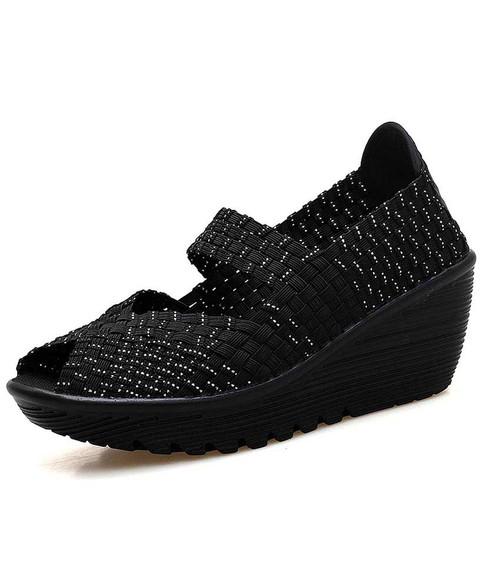 Black white weave low cut slip on shoe wedge sandal 01