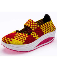 Yellow weave check slip on rocker bottom shoe sneaker 01