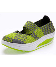 Green weave check slip on rocker bottom shoe sneaker 1875 01