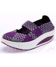 Purple weave slip on rocker bottom shoe sneaker 1875 01
