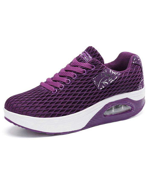 Purple pattern check rocker bottom shoe sneaker 01