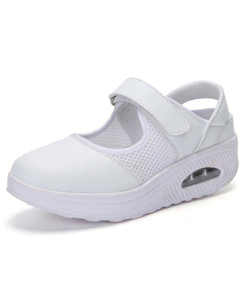 White cut out velcro slip on rocker bottom shoe sneaker 01