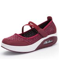 Red low cut hollow velcro rocker bottom shoe sneaker 01