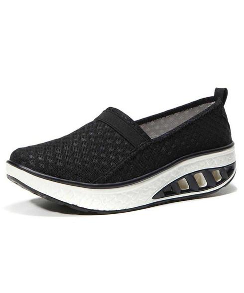 Black check slip on rocker bottom shoe sneaker 01