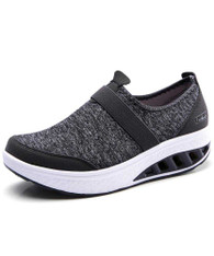 Dark grey flyknit slip on rocker bottom shoe sneaker 01