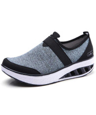 Blue flyknit slip on rocker bottom shoe sneaker 01