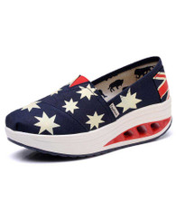 Navy star flag print slip on rocker bottom shoe sneaker 01