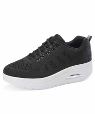 Black stripe block flyknit rocker bottom shoe sneaker 01
