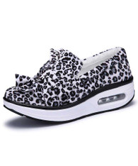 White leopard slip on winter rocker bottom shoe sneaker 01
