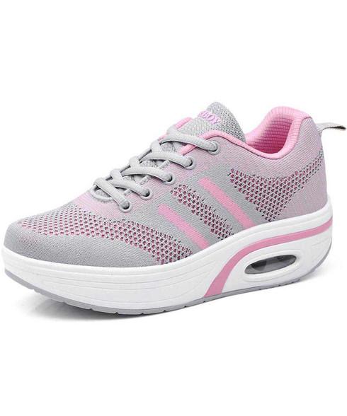 Grey stripe flyknit rocker bottom shoe sneaker 01