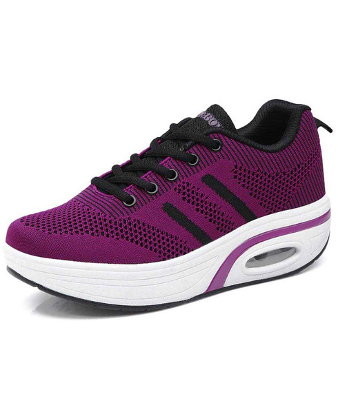 Purple stripe flyknit rocker bottom shoe sneaker 01