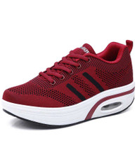 Red stripe flyknit rocker bottom shoe sneaker 01