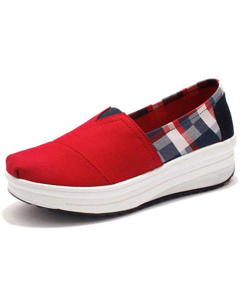 Red check pattern slip on rocker bottom shoe sneaker 01