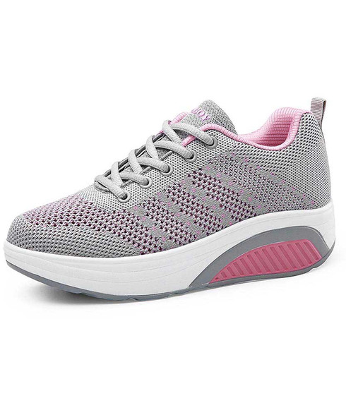 Grey stripe texture flyknit rocker bottom shoe sneaker 01