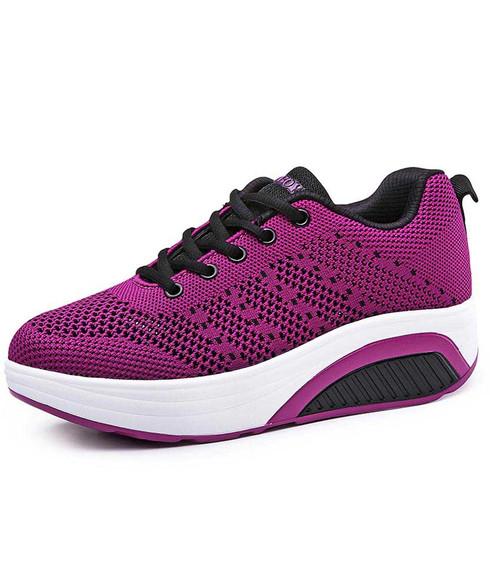 Purple stripe texture flyknit rocker bottom shoe sneaker 01