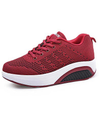 Red stripe texture flyknit rocker bottom shoe sneaker 01