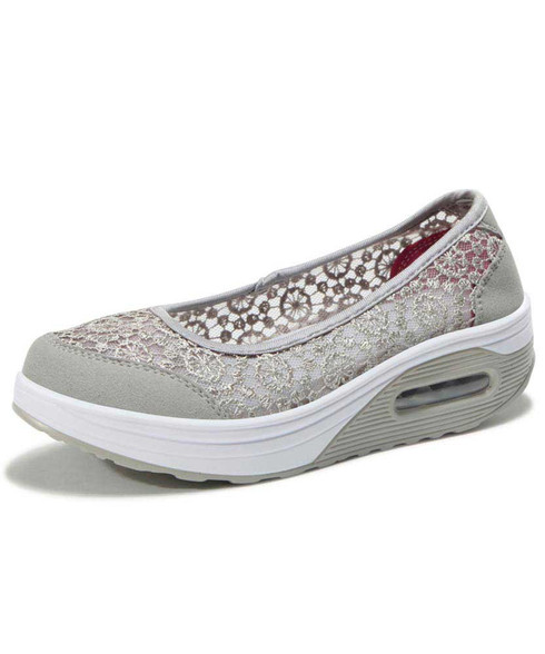 Grey lace low cut slip on rocker bottom shoe sneaker 01