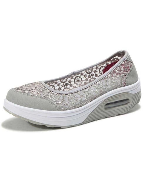 Grey lace low cut slip on rocker bottom shoe sneaker 01