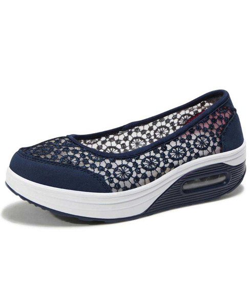 Navy lace low cut slip on rocker bottom shoe sneaker 01