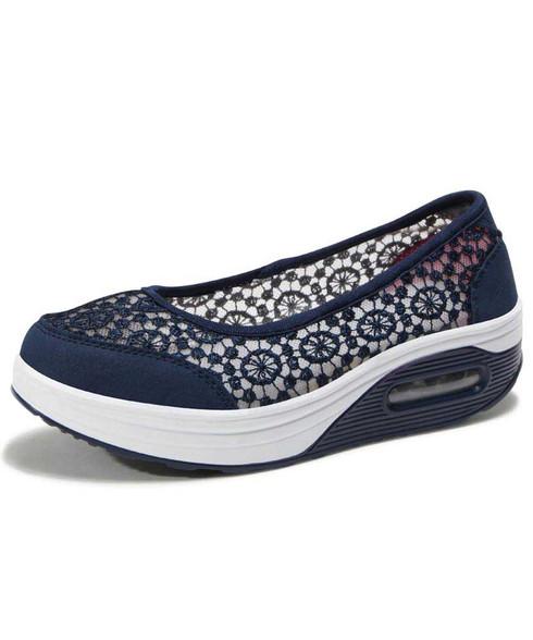 Navy lace low cut slip on rocker bottom shoe sneaker 01