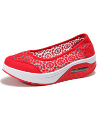 Red lace low cut slip on rocker bottom shoe sneaker 01