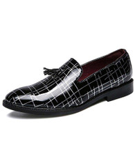Black random silver stripe tassel slip on dress shoe 01