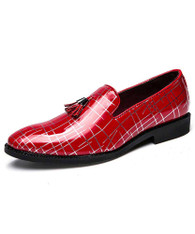 Red random silver stripe tassel slip on dress shoe 01