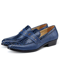 Blue snake skin pattern stud slip on dress shoe 01