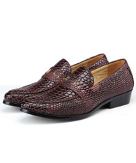 Red brown snake skin pattern stud slip on dress shoe 01