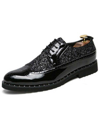 Black patent leather studded derby brogue dress shoe 01