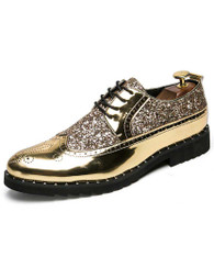 Golden patent leather studded derby brogue dress shoe 01