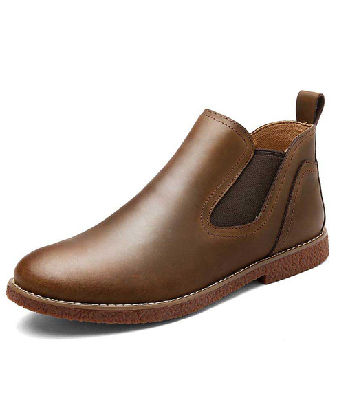 Brown slip on dress shoe boot sewing threaded 01