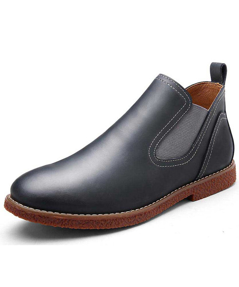 Charcoal grey slip on dress shoe boot sewing threaded 01