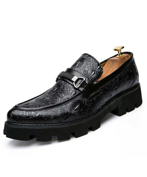 Black crocodile skin pattern buckle slip on dress shoe 01