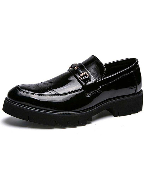Black brogue buckle patent slip on dress shoe 01
