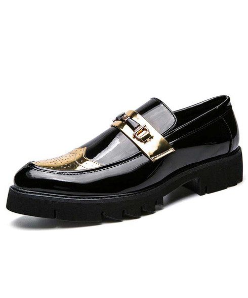 Black golden brogue buckle to tone slip on dress shoe 01