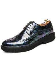 Blue camo patent leather derby brogue dress shoe 01
